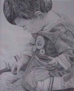 """""""Child Wondering"""", pencil drawing on paper"""