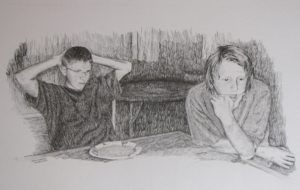 """""""Table Conversation"""" 13x20 pencil drawing"""